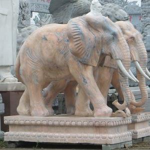 【石雕动物系列398】黄锈石雕刻大象批发
