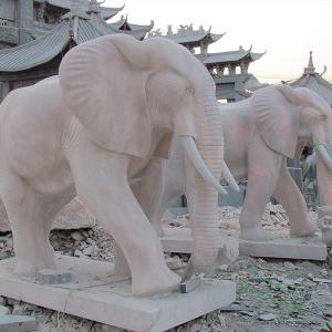 【石雕动物系列411】黄锈石雕刻大象定制