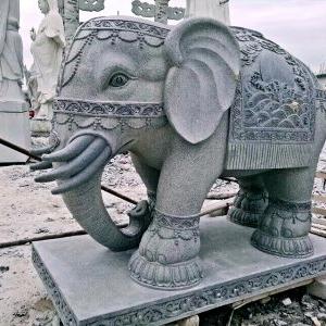 【石雕动物系列416】青石雕大象厂
