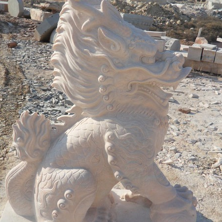 【石雕动物系列396】动物瑞兽-麒麟报价