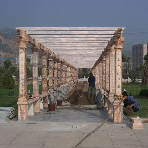 【园林景观134】石雕花架长廊雕刻厂
