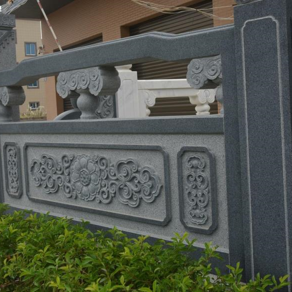 【石雕栏板栏杆系列966】青石栏杆厂