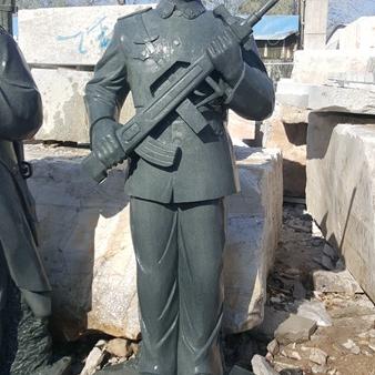 【人物雕塑0372】军事人物石雕像雕刻厂
