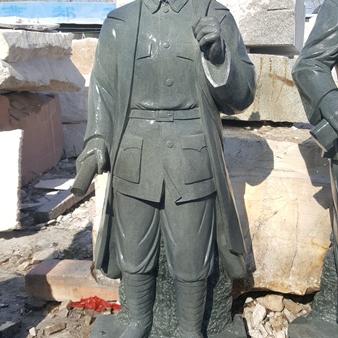 【人物雕塑0377】军事人物石雕像厂家