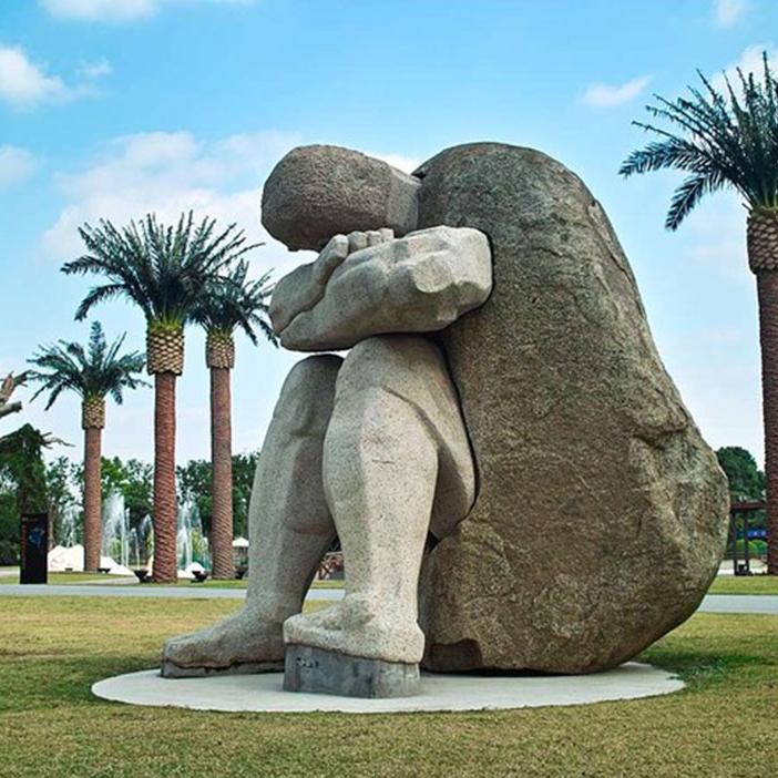 【人物雕塑1258】抽像人物石雕像供应