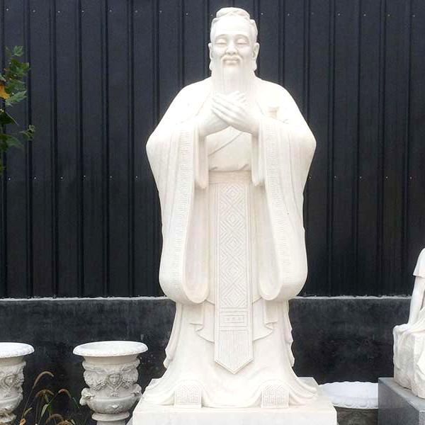 【人物雕塑1647】汉白玉石雕孔子像厂