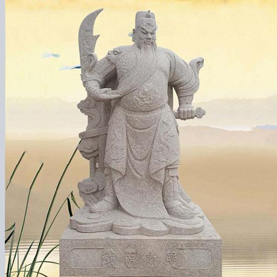 【人物雕塑1658】石雕关公像雕刻厂