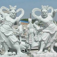 润福雕塑|哼哈二将石雕像加工定制
