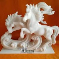 石雕马雕塑晚霞红万马奔腾雕刻办公桌橱柜精品工艺品生肖动物