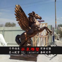 玻璃钢仿铜飞马奔腾跳跃雕塑仿真动物十二生肖马城市广场景观摆件