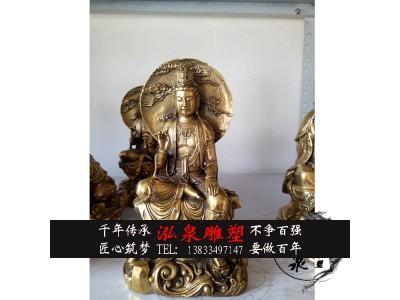 铸铜自在观音雕塑黄铜南海观世音菩