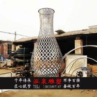 不锈钢金属铁艺大型创意镂空仿真花瓶雕塑户外广场商业街装饰摆件