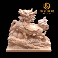 石雕麒麟晚霞红动物雕塑