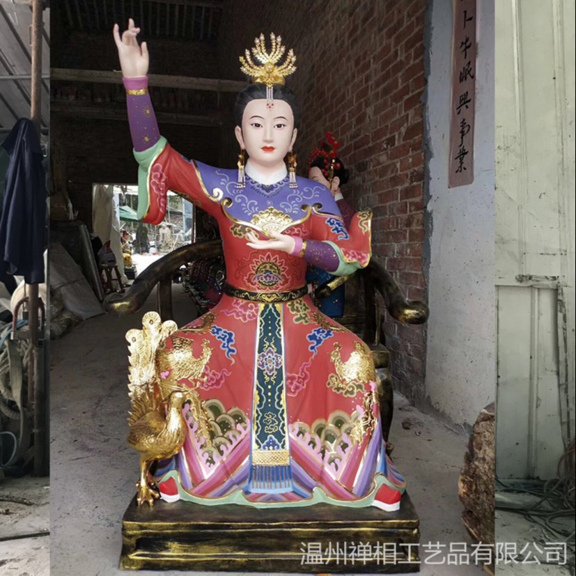 九天圣姑神像雕塑 彩绘神像雕塑定制厂家直销