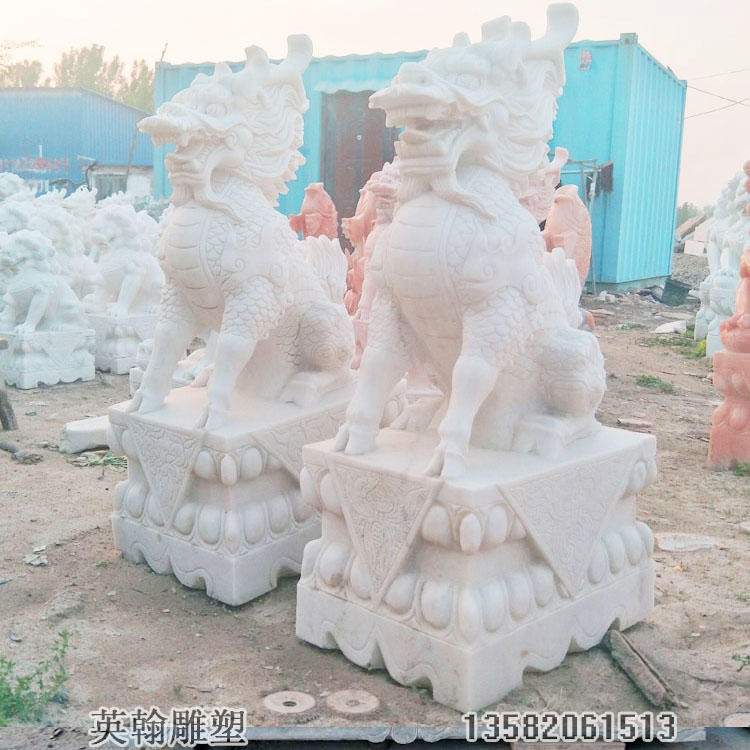 汉白玉石雕麒麟一对 招财镇宅石头麒麟瑞兽 户外景观雕塑