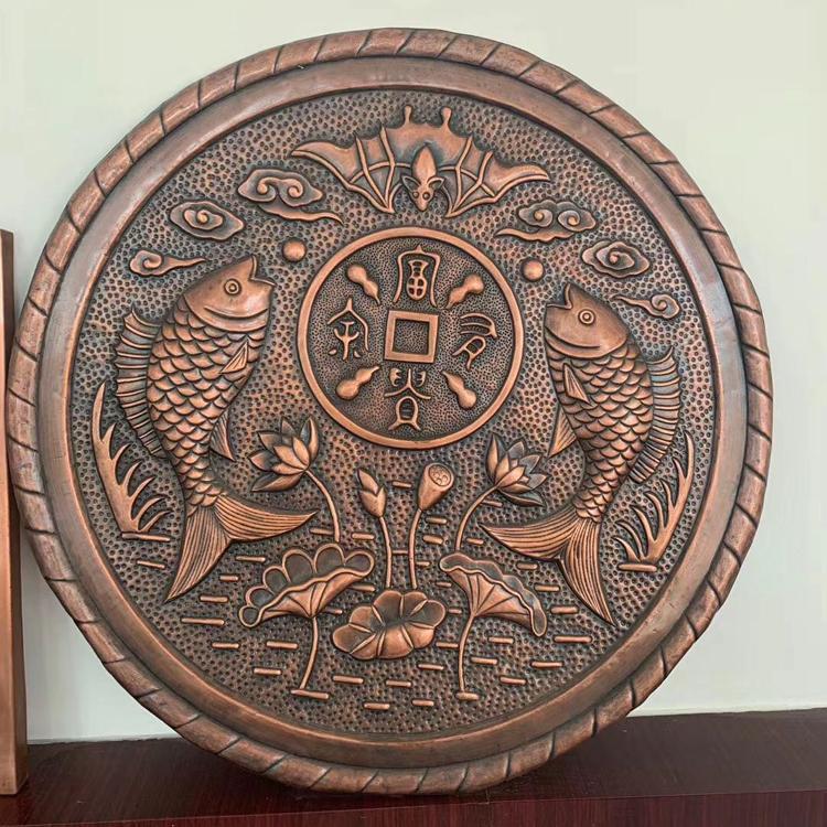 铜雕铸造精品浮雕 做旧仿古铜雕浮雕鱼 圣喜玛