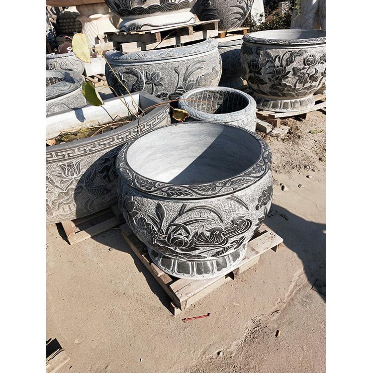 青石鱼缸 石雕鱼缸长方形石缸 荷花雕刻花缸万尚雕塑
