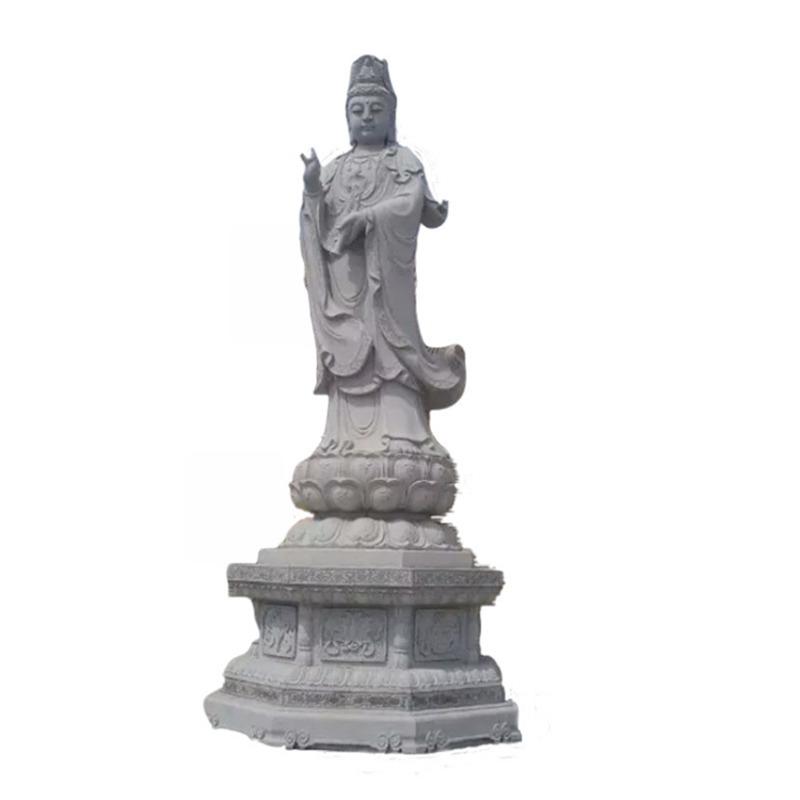 石雕佛像 汉白玉观音像 观音菩萨雕像 石雕观音摆件 寺庙供奉石雕