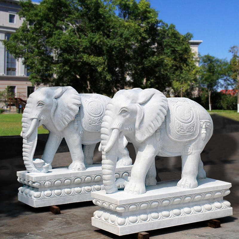广场石雕汉白玉大象 吉祥如意雕刻小象 别墅门口酒店招财石象摆件 石头大象厂家直销 青石石雕大象一对 晚霞红招财进宅石象