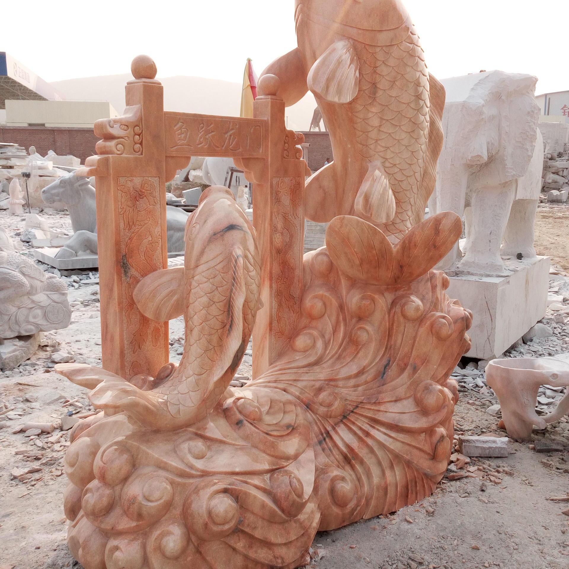 厂家直销 石雕鲤鱼吐水 晚霞红景观鱼 雕塑喷泉