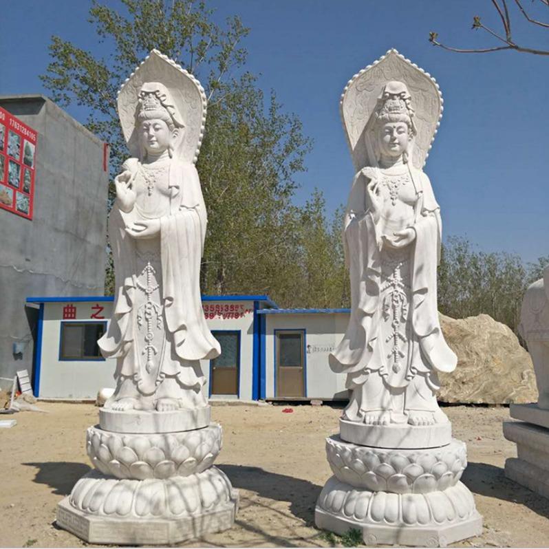 石雕佛像定制 露天石雕观音 户外佛像 大型石观音厂家