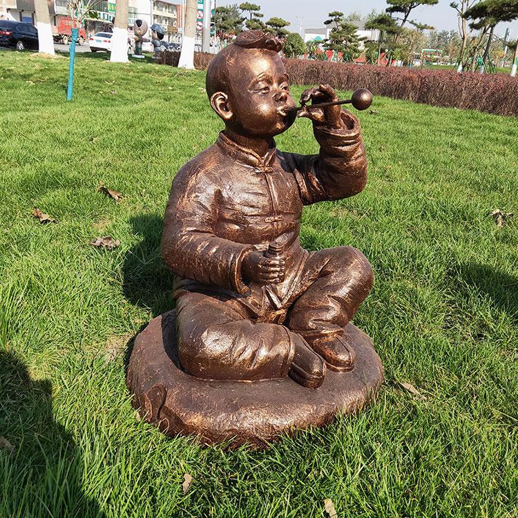售楼部人物雕塑 草地公园落地摆件 玻璃钢儿童雕塑,鹏钊