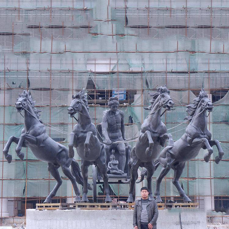 玻璃钢阿波罗战车 玻璃钢马雕塑 玻璃钢广场雕塑,鹏钊