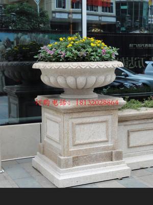 石雕花盆,广场景观石雕 花盆雕塑