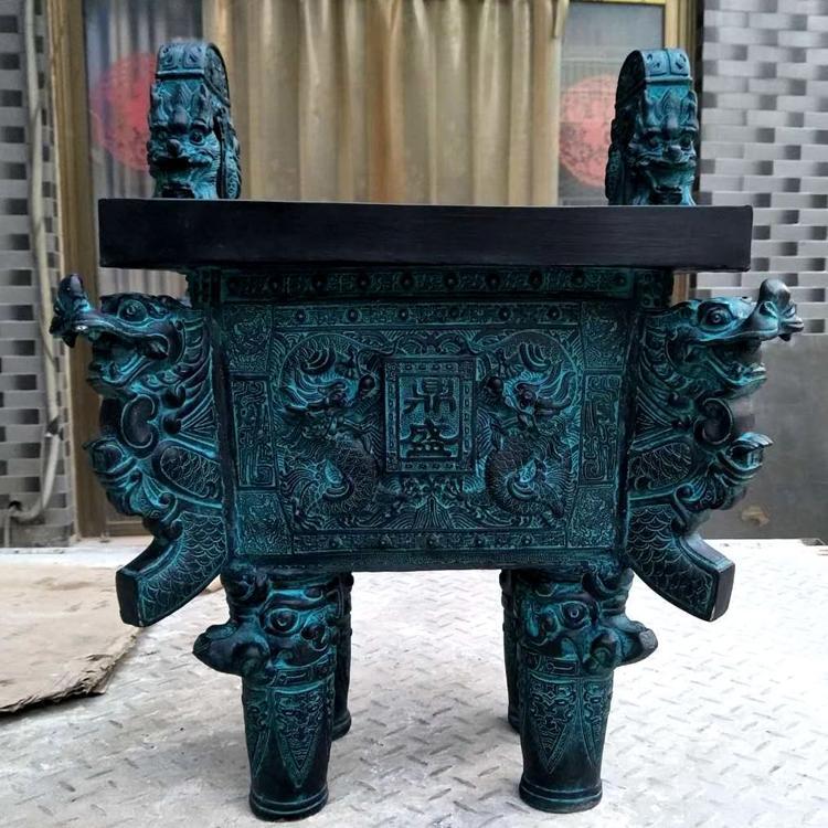 长方形铜鼎现货直销  仿古青铜器价格 铸铜方鼎 圣喜玛