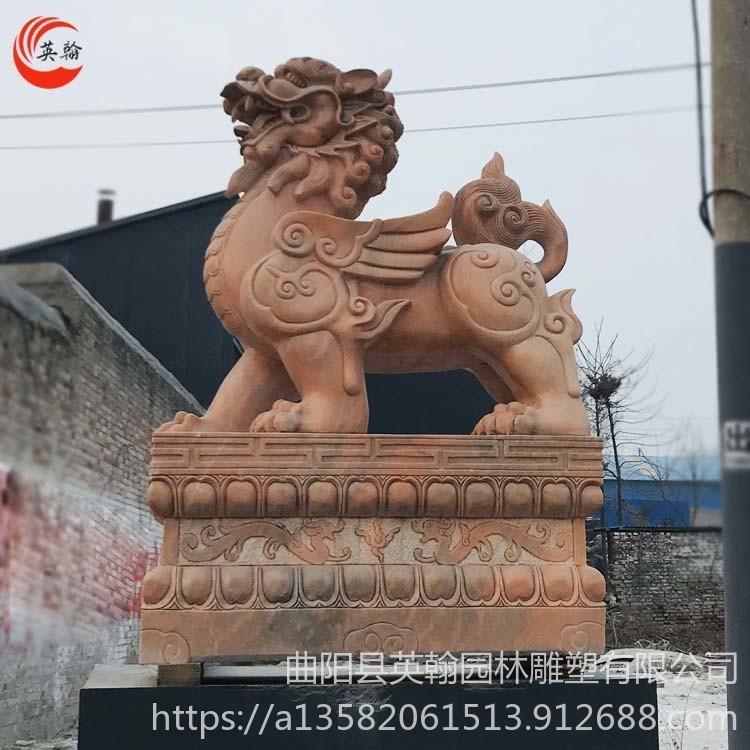 石雕貔貅一对 别墅大门口石材貔貅摆件 英翰雕塑厂家直销