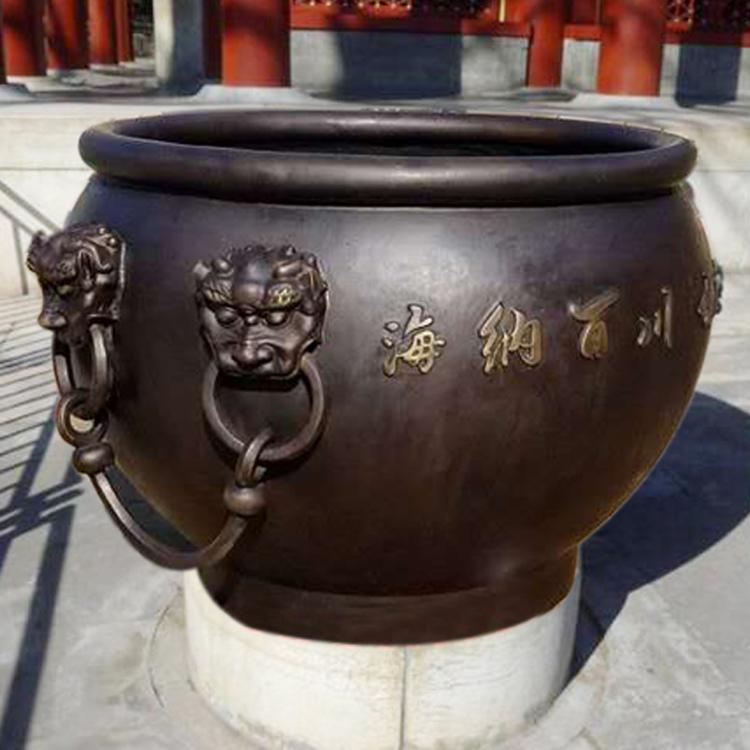 铸铜大缸定制 养花养鱼铜大缸雕塑厂家 圣喜玛