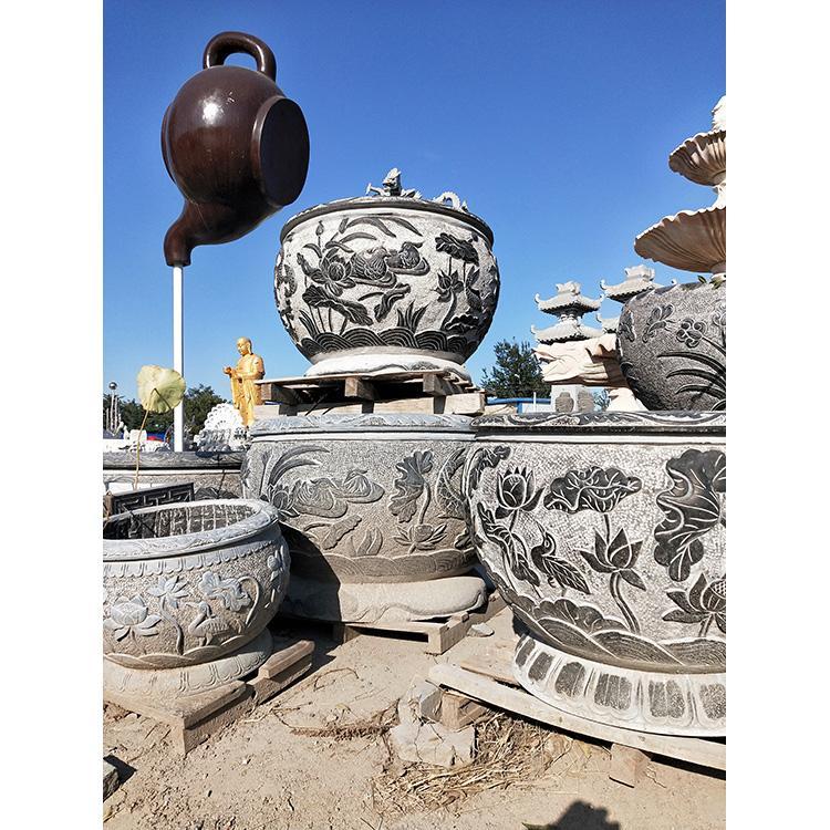 花盆鱼缸 庭院景观摆件 仿古荷花鱼缸 老石槽厂家万尚雕塑