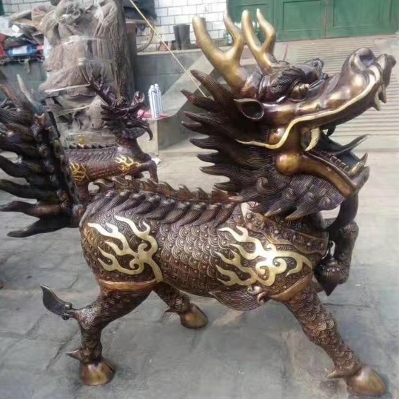 风水铜麒麟加工定做 风水铜麒麟厂家 圣喜玛