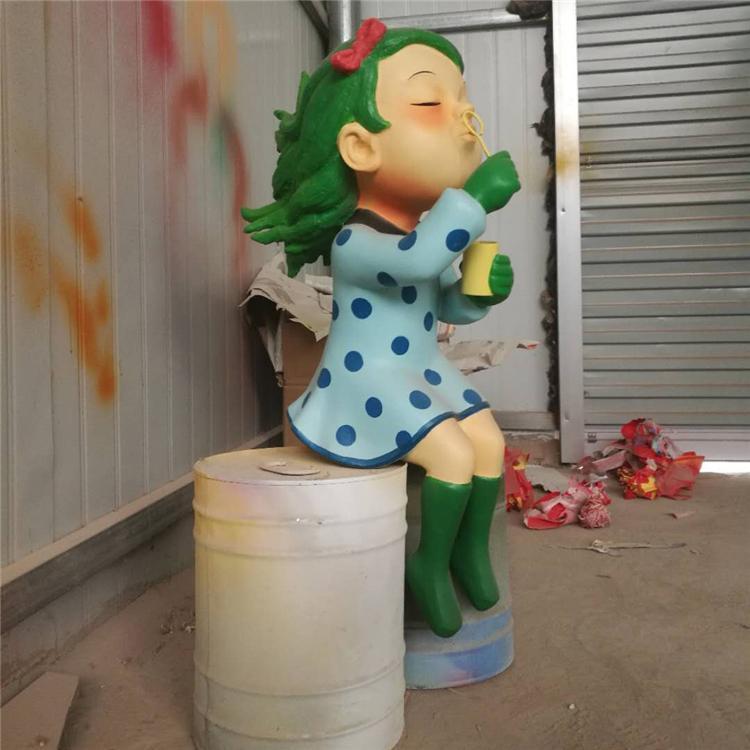 玻璃钢女孩形象雕塑 玻璃钢人物定制,鹏钊