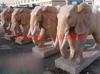 大象石雕,晚霞红石雕大象