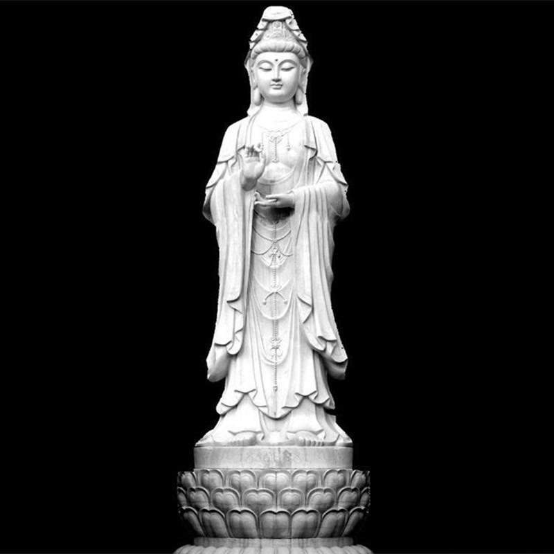 石雕观音菩萨 泽业雕塑直销大型寺庙佛像 石雕坐像观音 汉白玉观音菩萨像