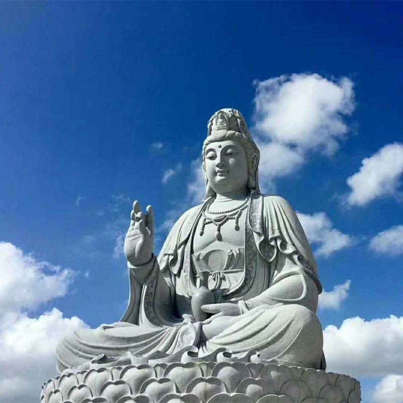 汉白玉佛像生产厂家 定制石佛像 寺庙大型佛像雕塑 石雕观音坐佛