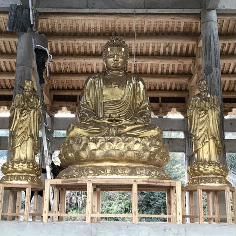 寺院铜铸三宝佛像 佛像雕塑制作厂家