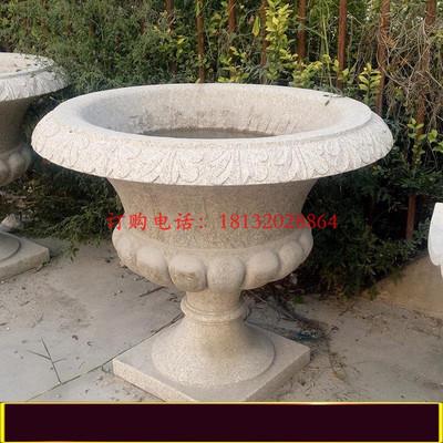 砂岩石雕花盆,公园景观石雕