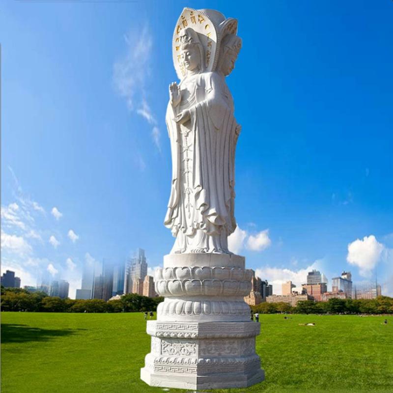 泽业雕塑厂家 曲阳石雕观音 石雕菩萨像 大理石佛像雕塑 三面观音石雕摆件 露天大型佛像定制