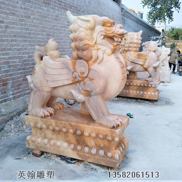 石雕麒麟 石材石雕动物风水神兽 厂家定制直销
