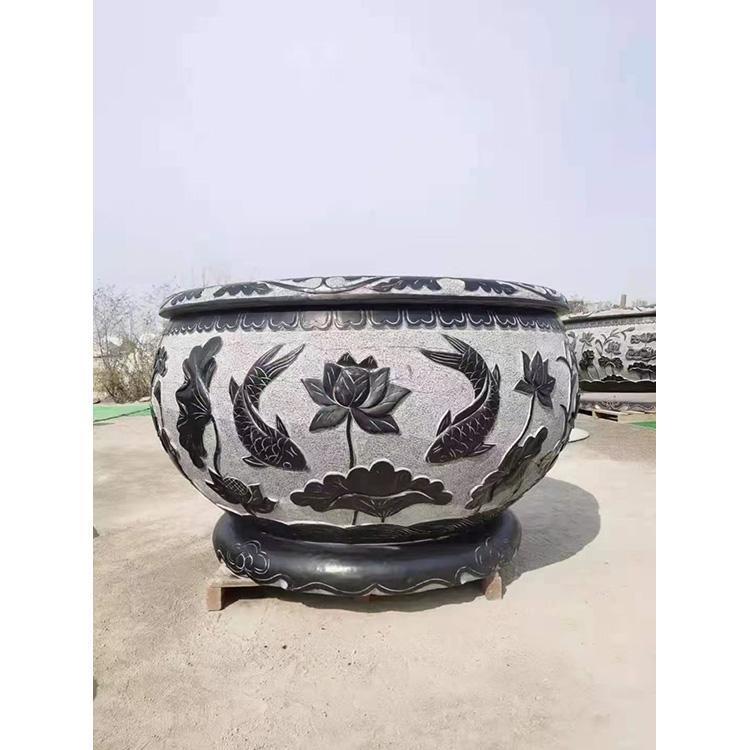 做旧石头鱼缸 石槽 荷花鱼缸雕花石槽 老石槽厂家万尚雕塑