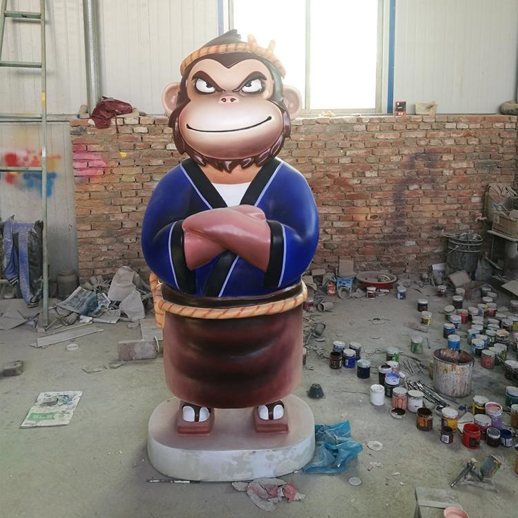 玻璃钢卡通动物 玻璃钢猴子吉祥物定做,鹏钊