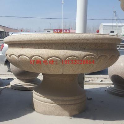 石雕花盆,公园景观石雕 花盆雕塑