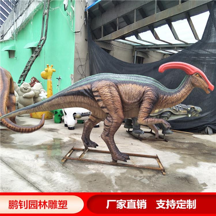 玻璃钢彩绘恐龙雕塑园林景观恐龙雕塑定制,鹏钊