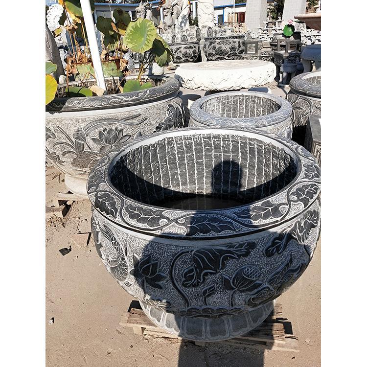 仿古石鱼缸 青石荷花鱼缸 荷花槽石雕鱼缸万尚雕塑