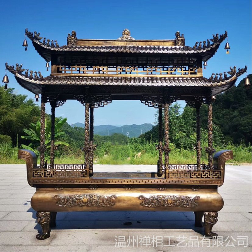 寺院大型铜香炉 二层长方形香炉定做厂家