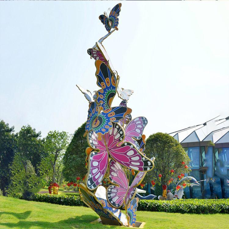 万硕雕塑 蝴蝶群不锈钢雕塑 广场商场公园景观 不锈钢几何体 动物雕塑摆件