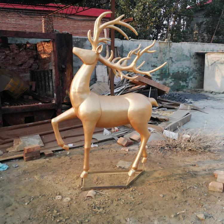 河北不锈钢雕塑生产厂家 景观不锈钢雕塑鹿 圣喜玛
