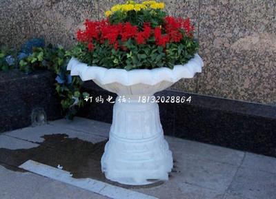 汉白玉花盆石雕 别墅石雕花盆
